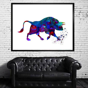 Bull Watercolor Print, Fine Art Poster, Wall Art, Home Decor, Wall Hanging, Gift, Farm animals
