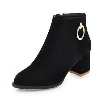 Women Shoes Woman Flock black Fashion Square Heels Chelsea Boots Ankle Boots Woman