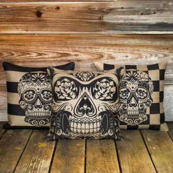 Skull Pillow Covers 3 Day of the Dead Sugar Skull by TheWatsonShop