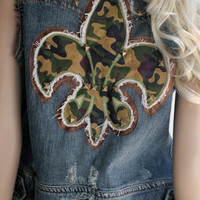 Silver Jeans Brand Denim Embellished Distressed Vest - FREE SHIPPING in USA