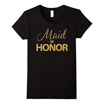 Women's Maid Of Honor Shirt Bride Shirts Gold Sequins