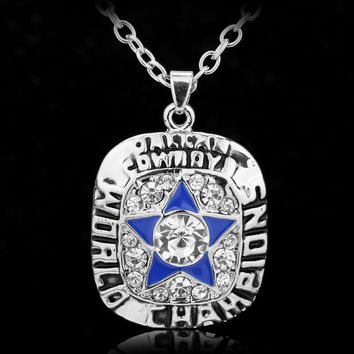 Super Bowl Football Dallas Cowboys Enamel Crystal Star Championships Necklace Classic Silver Plated Men Pendant Necklace Jewelry