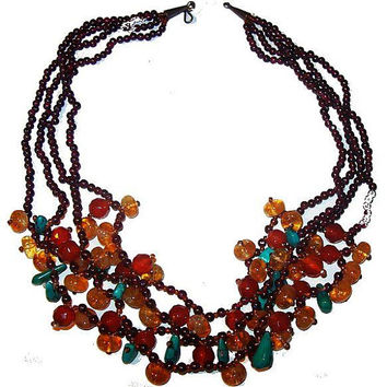 Amber Turquoise Nugget Bead Necklace 4 Garnet Bead Chains Metal Hook Clasp 20 in Vintage