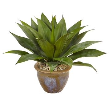 Artificial Plant -Agave with Glazed Clay Pot