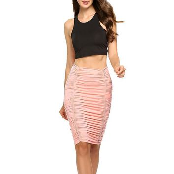 Mia Ruched High Waisted Knee Length Skirt - Pink