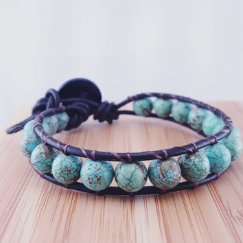 "Beaded leather wrap bracelet // turquoise stone beads // genuine leather cord // ""Chan Luu"" inspired // bohemian style"