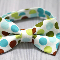 Boy Bow Tie with Dots teal blue, green, brown. wedding, Boy photo prop, church, birthday, easter or everyday.
