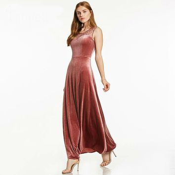 Beaded long evening dress sleeveless floor length a line dresses women velour formal evening gown