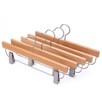 J.S. Hanger Deluxe Beech Wooden Pant Skirt Hangers with 2-Adjustable Clips, Natural Finish, 5-Pack