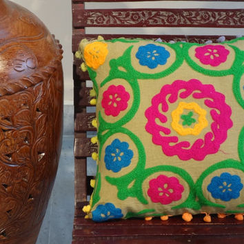 Suzani Cushion, Pom Pom Pillow Cover, Bench Cushion, Floral Cotton Fabric, Outdoor Pillow Cover, Suzani Bedding, Embroidery Cushion
