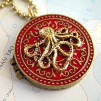Octopus Locket Necklace Red and Gold Round  by CosmicFirefly