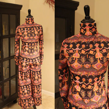 Vintage 1970's Novelty Print Disco Jumpsuit + Onesuit + High Collar + SMALL