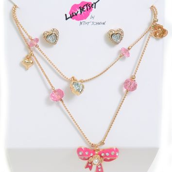 Betsey Johnson Womens Bows Hearts Frontal Necklace Earrings Gift 47547e419