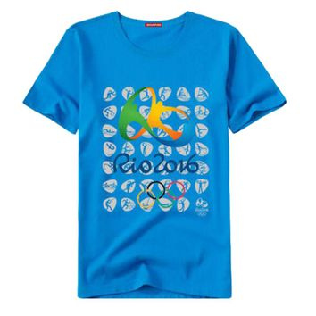 Rio 2016 Olympic Games Round Neck Tee Commemorative Sports T-shirt -XXL Blue