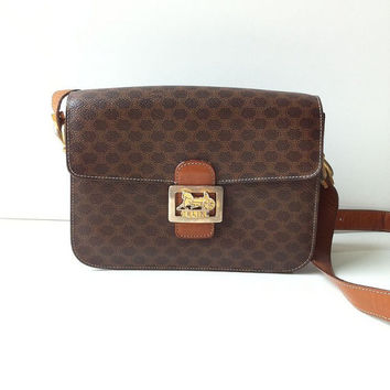 Vintage Celine Horse Carriage Cross Body Box Bag