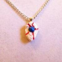 Blue Eye Teardrop Necklace, clay, pendant, ball, simple, small petite red white unique shiny pendant ooak one of a kind, original, very nice