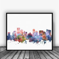 Atlantic City Skyline Art Print Poster