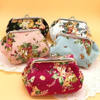 Women Lady Retro Vintage Flower Small Wallet Hasp Purse Clutch Bag Brand New
