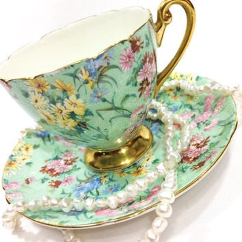 Shelley Tea Cup and Saucer, Melody Pattern, Floral Chintz Tea Cup, Ripon Shape Cup, Gold Rims Handle & Pedestal, Vintage