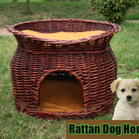 Rattan Teddy puppy dog and kitty cat pet house Willow wicker cat litter Kennel CatHouse small dog cage lightweight easy to carry