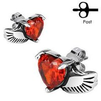 Wing and heart earrings