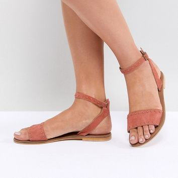 ASOS DESIGN Freja Leather Studded Flat Sandals at asos.com
