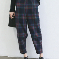 Navy Plaid Elastic Straight Woolen Pants