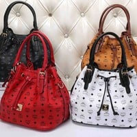 """MCM"" Women Fashion Classic Logo Letter Print Drawstring Handbag Single Shoulder Bag Big Water Bucket Bag"