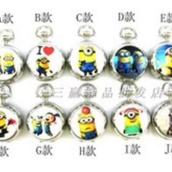 Fashion Jewelry cartoon Despicable Me yellow doll retro enamel necklace pocket watch Captain America shield children gift