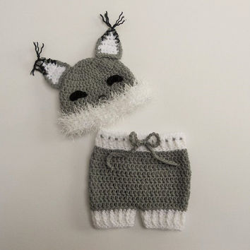 Baby fox hat and diaper cover, Crochet fox hat, newborn photo prop, fox beanie, newborn fox hat, coming home outfit, baby clothes, UK Seller
