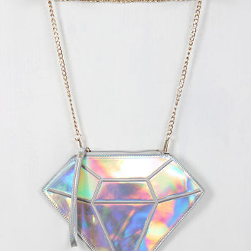 Iridescent Outlined Diamond Mini Bag
