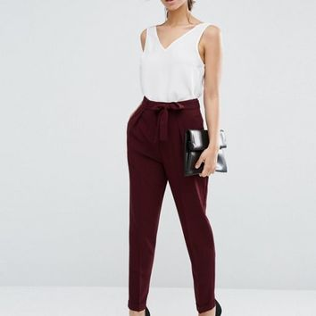 ASOS Woven Peg Trousers with OBI Tie at asos.com