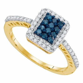 10kt Yellow Gold Women's Round Blue Color Enhanced Diamond Rectangle Cluster Ring 3-8 Cttw - FREE Shipping (USA/CAN)