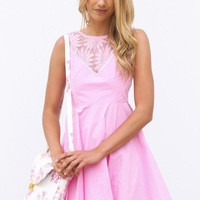 Light Pink Dress with Floral Lace Detail & Flared A-Line Ski