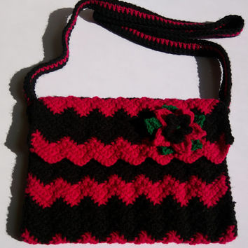 Chevron Messenger Bag, Crocheted Messenger Bag, Pink and Black Chevron Handbag