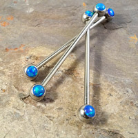Blue Opal Industrial Barbell Piercing Upper Double Ear Piercing 14 Gauge
