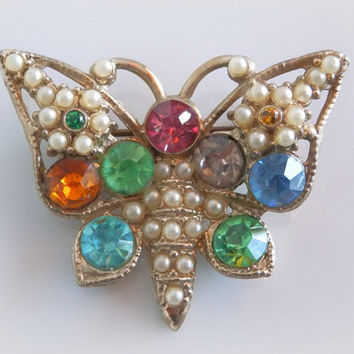1960s Butterfly Brooch - Jeweled Insect Brooch - Vintage Pearl and Rhinestone Brooch - Gold Butterfly Pin - Pastel Mint, Pink, Blue, Green