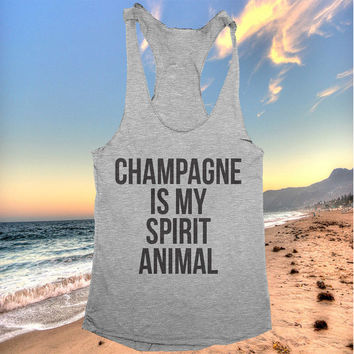 champagne Is My Spirit Animal racerback tank top yoga gym fitness workout exercise muscle top women ladies funny training tumblr