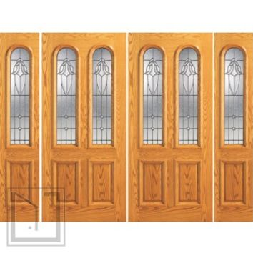 Prehung Mahogany Arch Twin Lite Entry Double Door Two Side lights