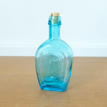 Large blue horseshoe bitters bottle, Wheaton bottle reproduction made in Taiwan
