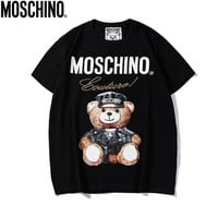 Moschino 2018 new cartoon bear print round neck men and women short-sleeved T-shirt black
