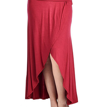82 Days Women'S Rayon Span Double Layer High & Low Skirt with Wide Waistband - Solid