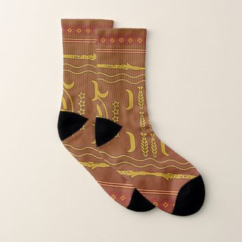 Chestnut Golden Brown African Symbols Socks