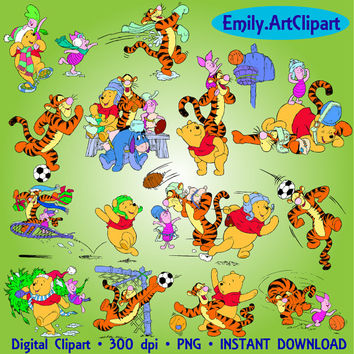 Winnie The Pooh Clipart 27 PNG Spot Clipart Holiday Tigger Piglet Disney Clip Art Digital Graphic Art Invitations Printable 300 dpi