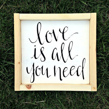 All You Need is Love, Love is All You Need, Rustic Decor, Wood Sign, Home Decor, Wall Signs, Bridal Shower Gift, Distressed Sign, Set of 2