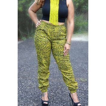 African Print Jogger pants - Yellow/Black Fern Print