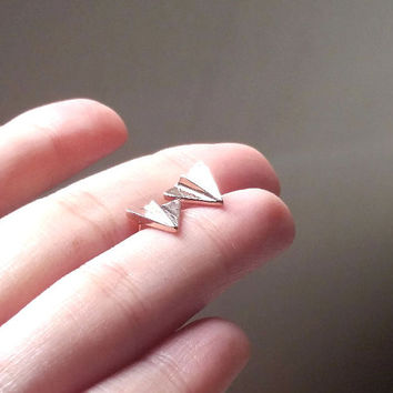 18k gold, silver tiny paper airplane earrings, paper airplane  stud