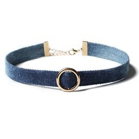 Casual Metal Ring Denim Choker Necklace