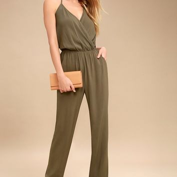 Learning to Fly Olive Green Jumpsuit