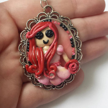 Polymer Clay Necklace - Applique Polymer Clay Style - Creepy Cute Little Girl Theme Jewelry - Silver Pendant - Button Eyes Girl Necklace -